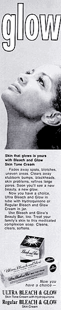 An ad for Ultra Bleach and Glow, a bleaching cream that contains hydroquinone. Printed in Ebony magazine, September 1970