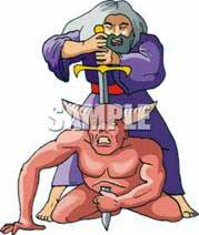 A Colorful Cartoon of a Biblical Man Stabbing a Demon with a Sword - Royalty Free Clipart Picture