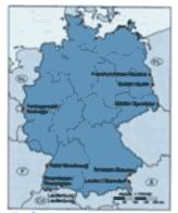 Titel des Atlas (links) und Übersichtskarte der Doppelstädte an deutschen Grenzen